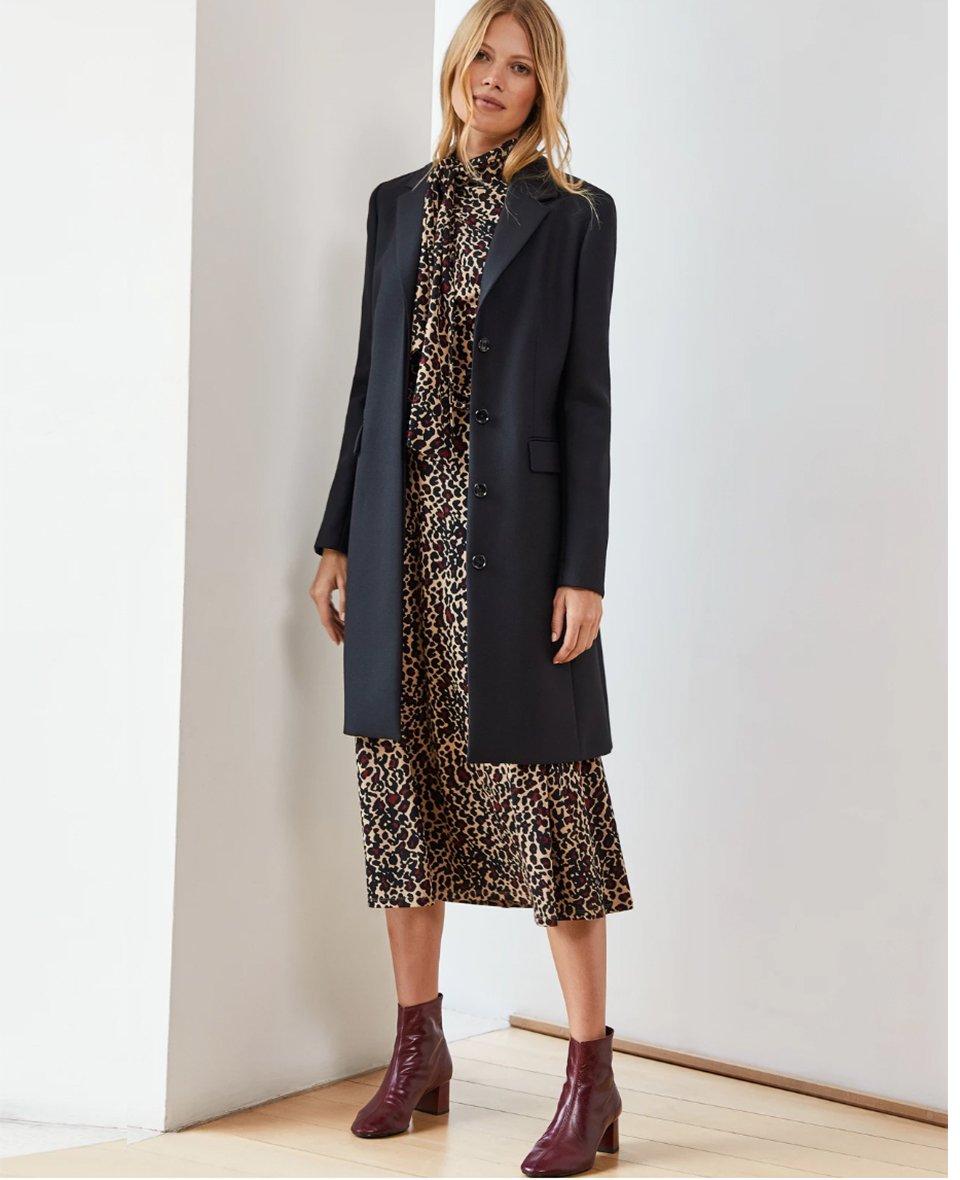 Shop Fenna Coat Caviar Black, Alanah Tie Dress Caramel Leopard Print and more