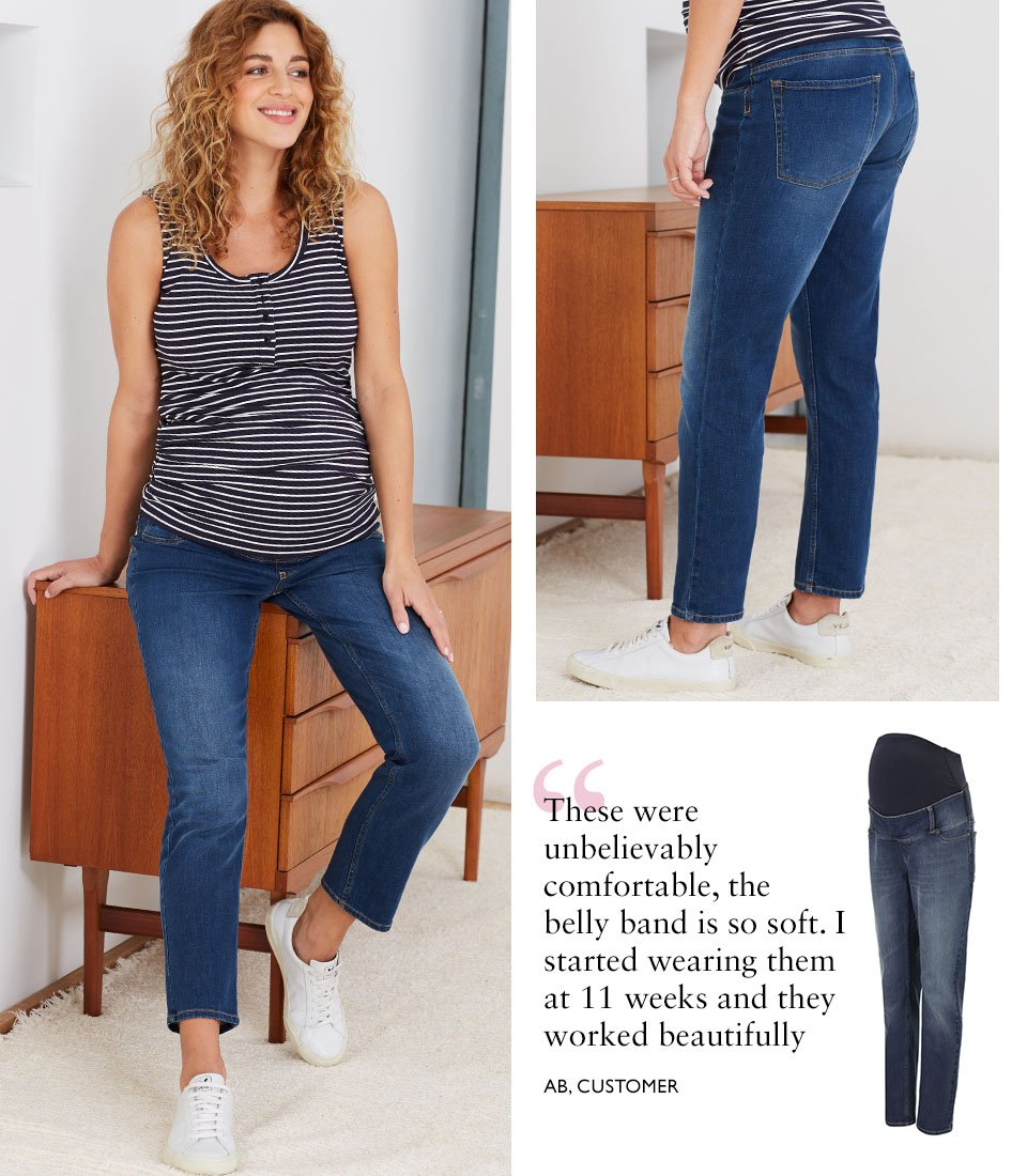 Shop Isabella Oliver Charlie Maternity Top-Navy & White Rib, Isabella Oliver Over the bump Maternity Boyfriend Jean-Washed Indigo and more
