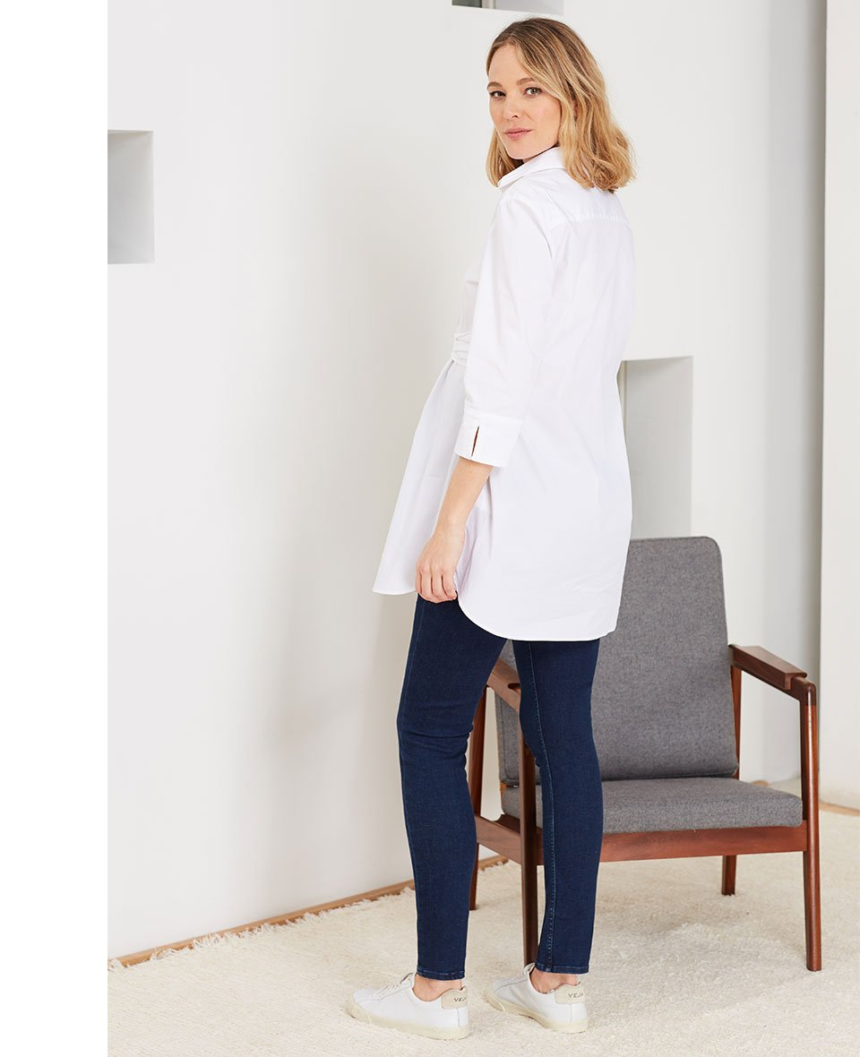 Shop Isabella Oliver Super Stretch Maternity Skinny Jean-Indigo, Isabella Oliver Kelly Maternity Shirt-Pure White and more