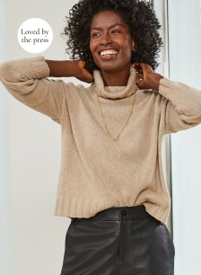 Shop Darcy Eco Cashmere Roll Neck Jumper Almond and more