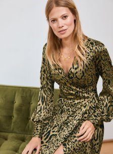 Shop Lucienne Dress Gold & Black Animal Print and more