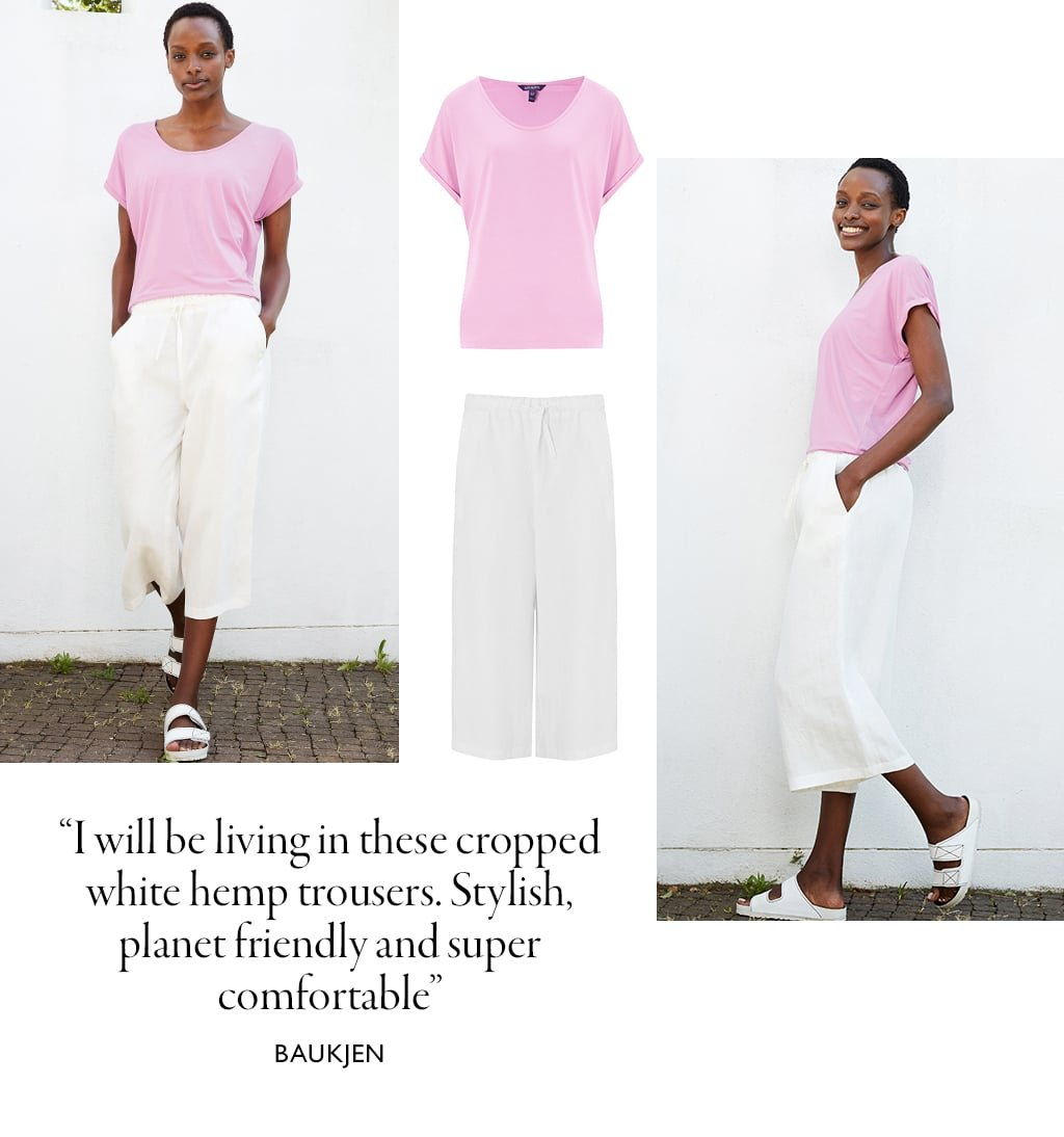 Shop Kitty Organic Tee Pink Lavender, Helena Hemp Cropped Trouser Soft White and more