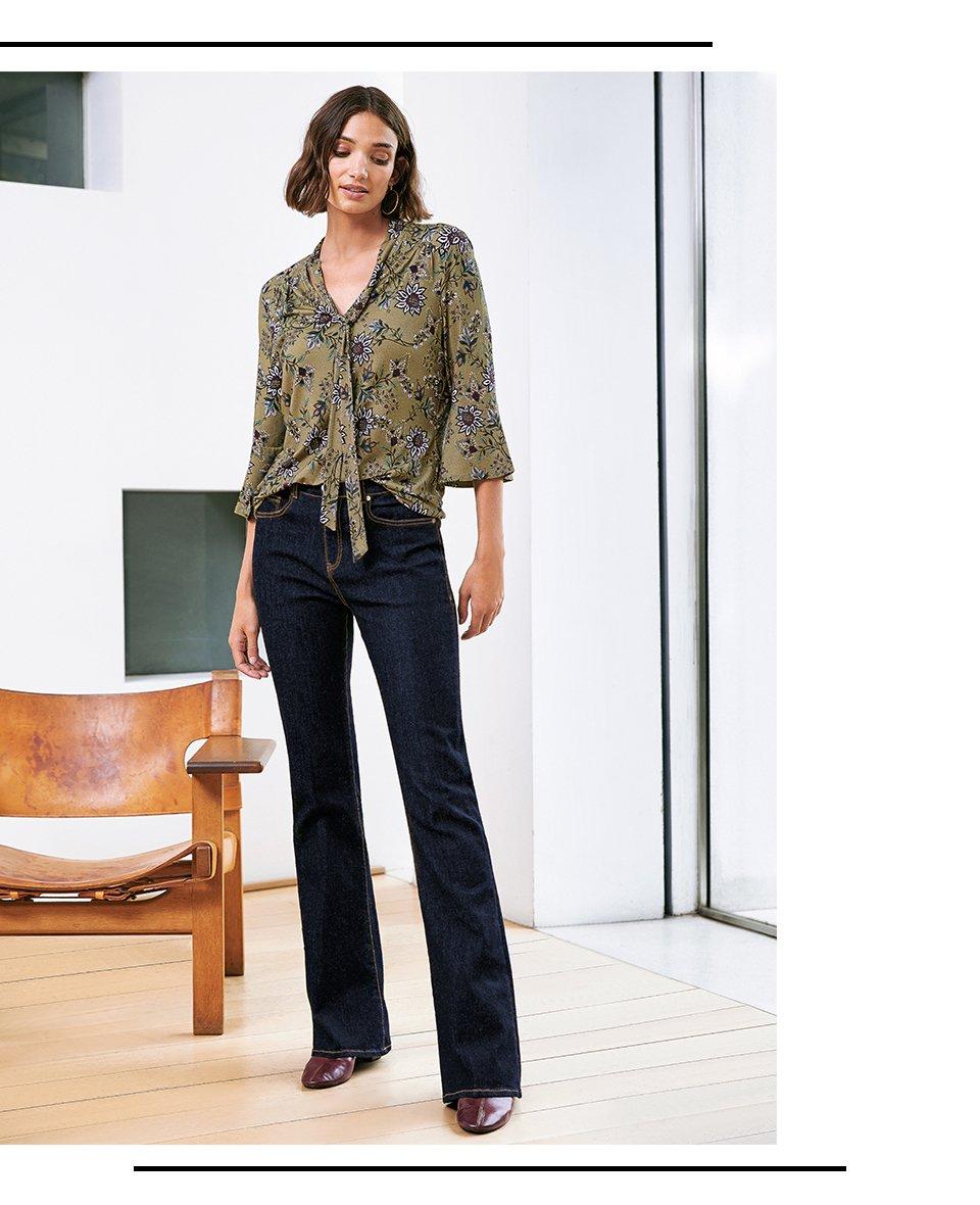 Shop Juliet Blouse Khaki Saraca Floral, Frankie Jean Darkest Indigo and more