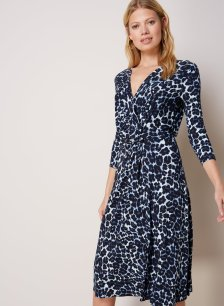 Shop Ophelia Dress Blue Leopard Print and more