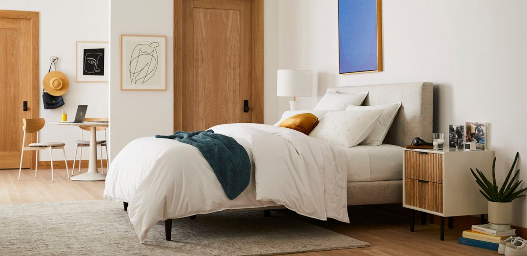 Curated image with Andes Deco Upholstered Bed- Queen, Twill, Stone, Metalized Glass Table Lamp +...