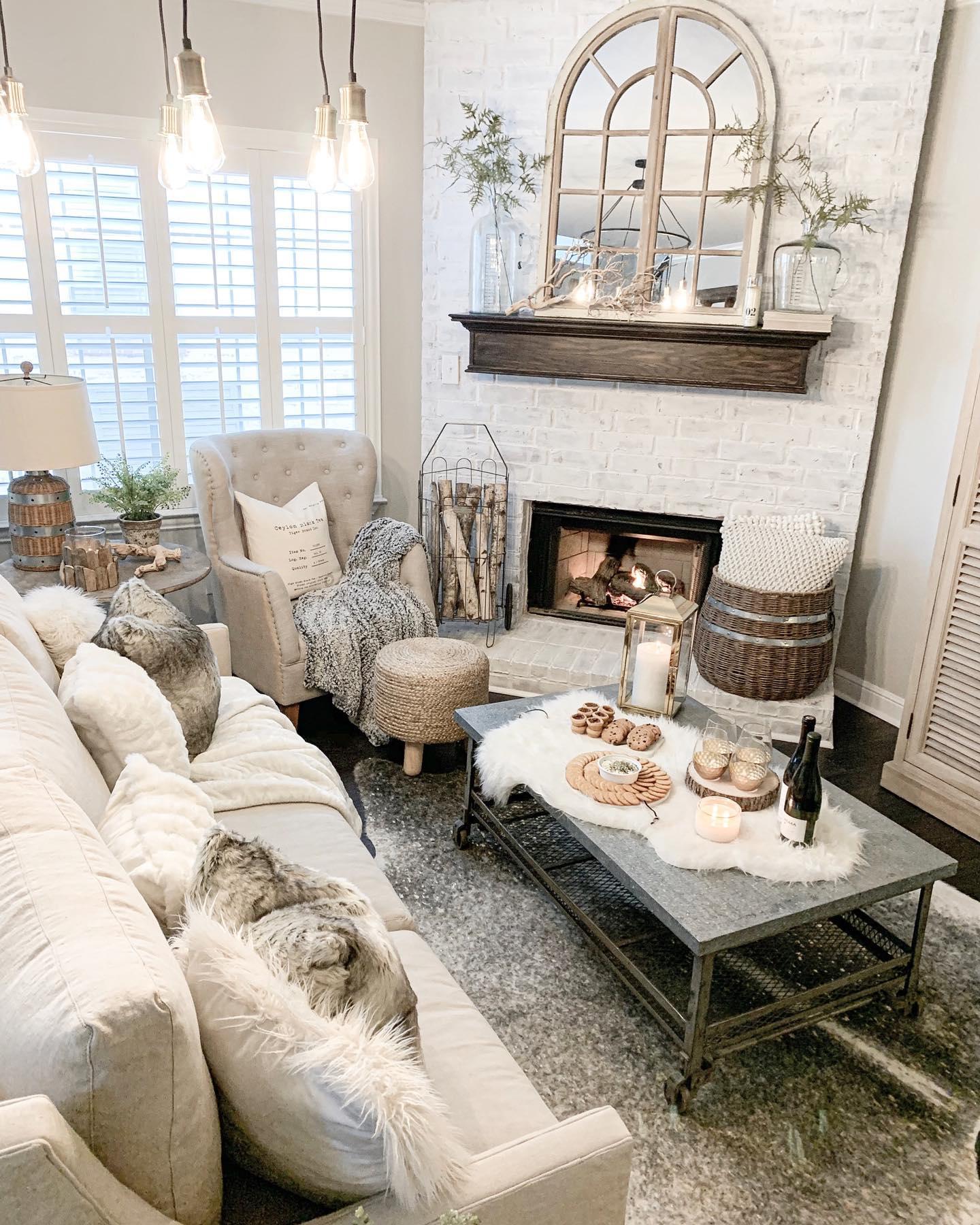Cozy farmhouse living room Instagram Post
