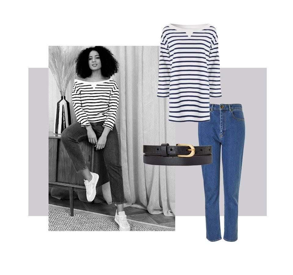 Shop The Organic Girlfriend Jean Washed Blue, Baukjen Leather Skinny Belt Caviar Black, Layla Organic Top and more