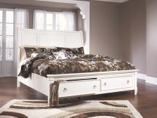 Shop Prentice Queen Sleigh Bed with Storage, White and more