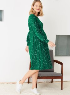 Shop Isabella Oliver Maisy Maternity Dress-Emerald Polka and more