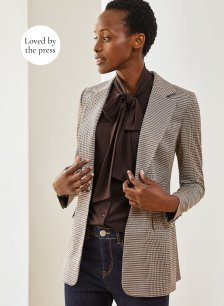 Shop Delilah Blazer Brown Tonal Check and more