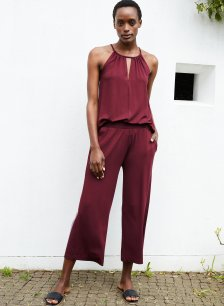 Shop Cropped Palazzo Trousers with LENZING™ ECOVERO™ Bordeaux and more