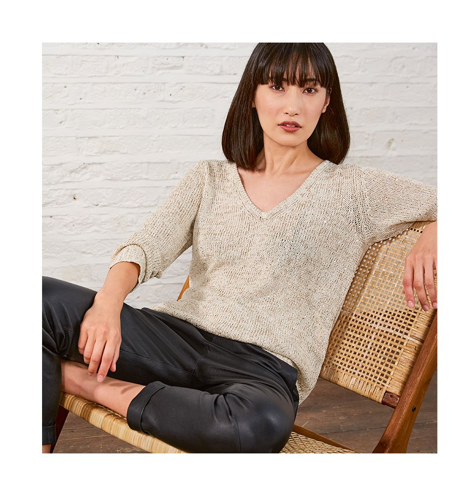 Shop Emelina V Neck Sequin Knit Gold Grey, Raven Leather Trouser Caviar Black and more
