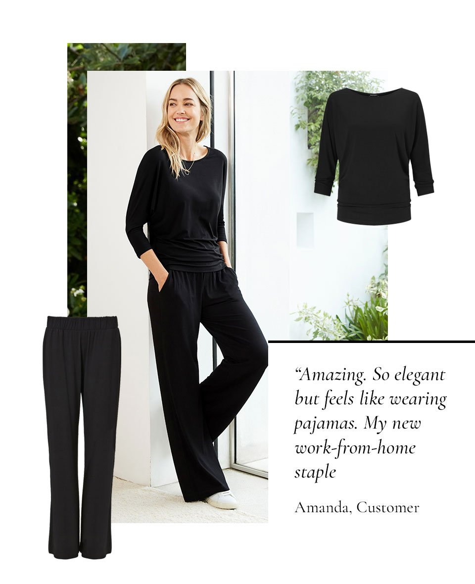 Shop Kendra Organic Top Caviar Black, Palazzo Wide Leg Trousers Caviar Black and more