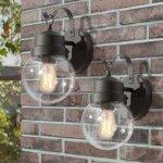 "2-Pack Black Mini Globe Wall Sconce Outdoor Wall Lamp Lighting Fixture - L 6"" x W 7"" x H 11"" (2-Pack)"
