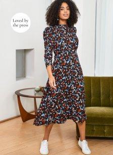 Shop Wynne Dress Black Floral Print and more