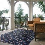 "Signature Home Glenrose Navy Blue Indoor/Outdoor Area Rug (7'10 x 10') - 7'10"" x 10'"