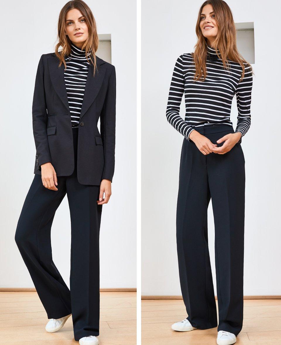Shop Phoebe Blazer Caviar Black, Rhona Turtleneck Black & Pure White Stripe, Clio Wide Leg Trousers Caviar Black and more