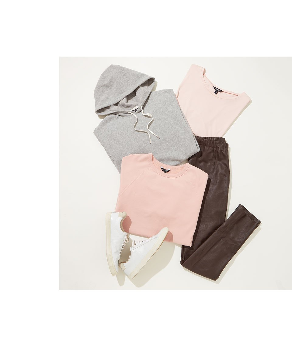Shop Marte Organic Longline Sweatshirt Rose, Brooklyn Organic Hoodie Grey Marl, Franka Organic Cotton Top Rose, Liv Leather Leggings Dark Chocolate Brown and more