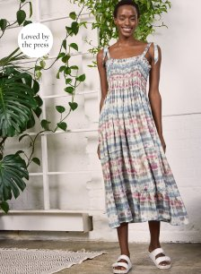 Shop Aoife Dress with LENZING™ ECOVERO™ Pink & Blue Tie Dye Print and more