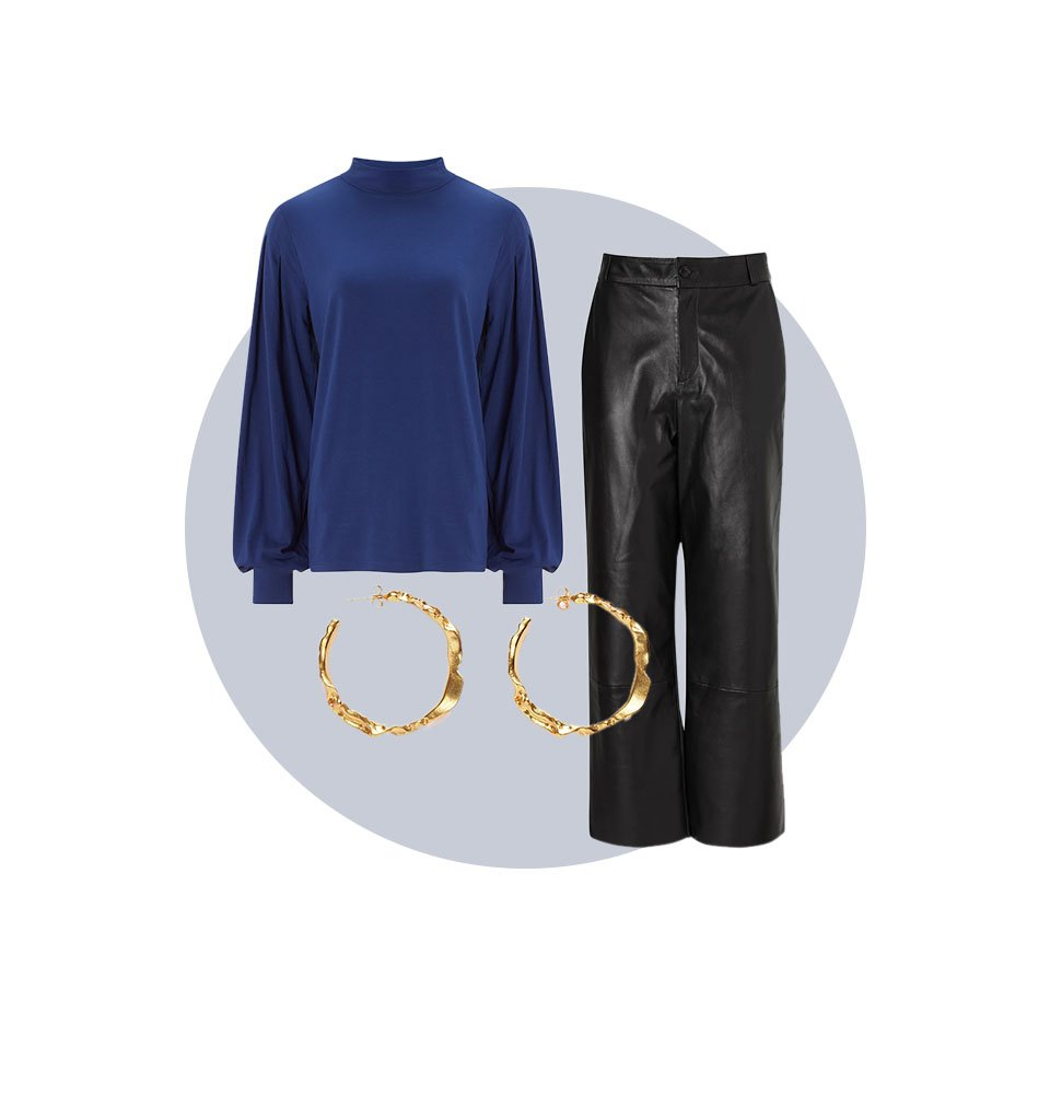 Shop Sacha Leather Trousers, Anoushka Ecovero™ Top Indigo, Sicily Earrings Gold and more