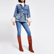 Shop River Island Womens Blue faux fur collar padded denim jacket and more