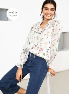 Shop Anastasia Blouse Soft White Painterly Floral and more