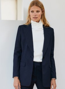 Shop Elizabeth Blazer Navy and White Pinstripe and more