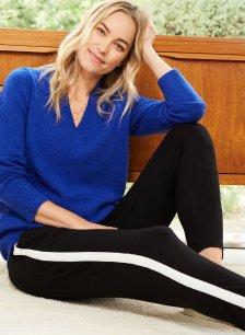 Shop Rhiannon V-Neck Jumper Cerulean Blue and more