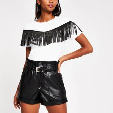 Shop River Island Womens Black belted faux leather Mom shorts and more