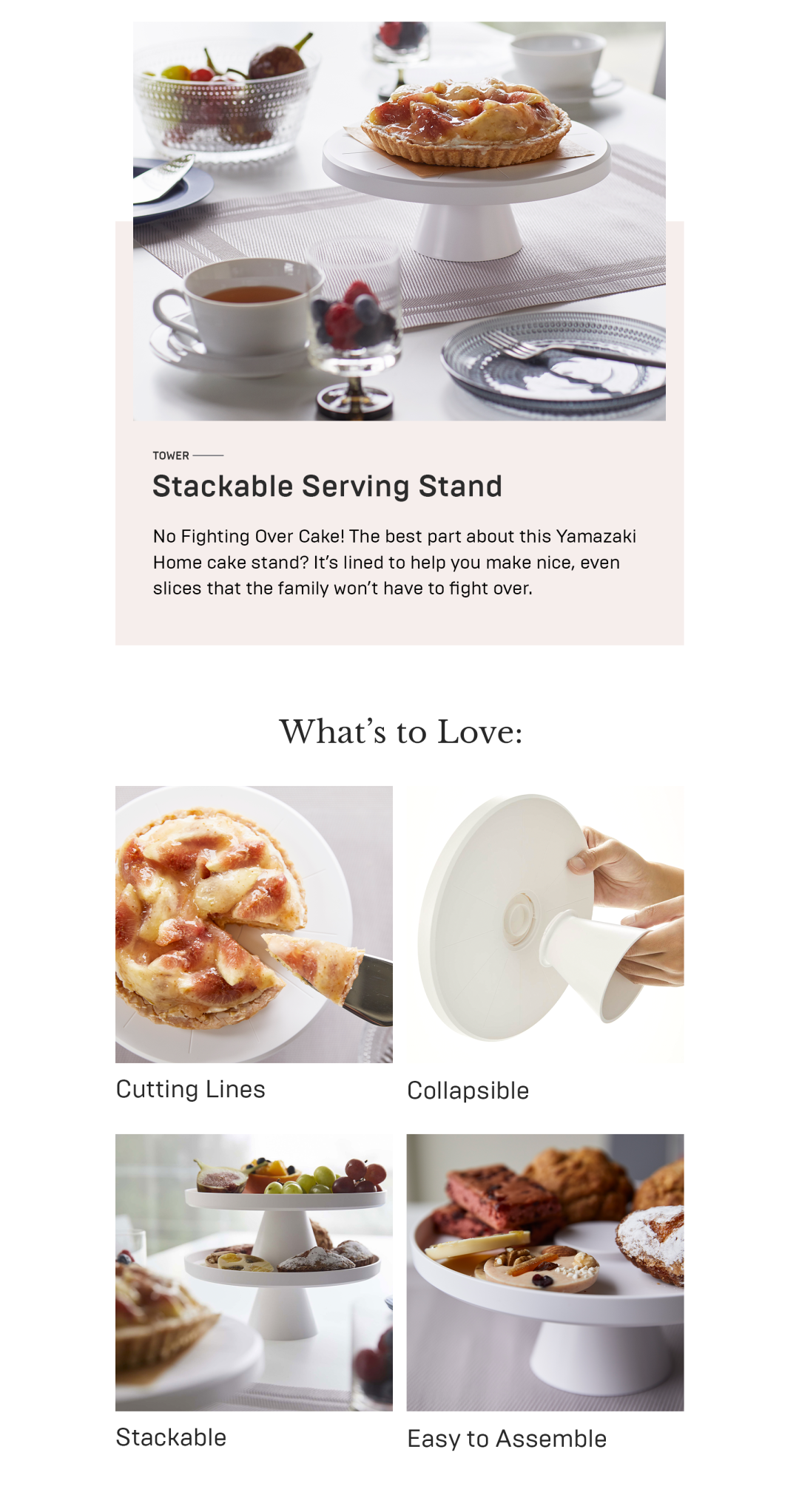 Yamazaki Home stackable serving stand details