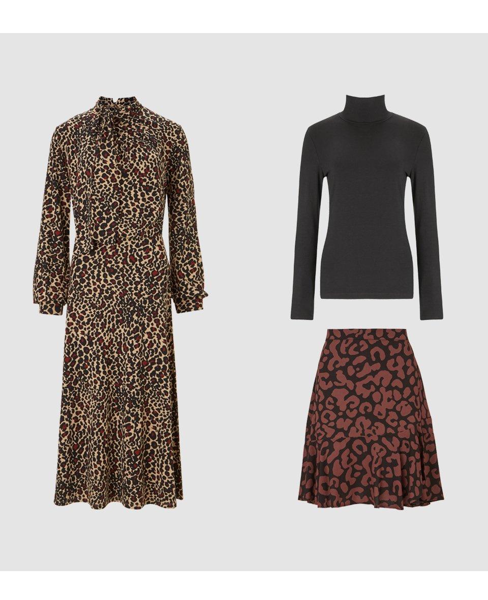 Shop Alanah Tie Dress Caramel Leopard Print, Baukjen Ecovero™ Turtleneck Caviar Black, Esmee Skirt Black & Brown Animal and more