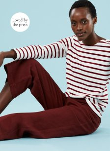 Shop Emma Organic Cotton Stripe Top Red Brick and more