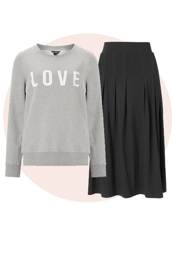 Shop Andie Ecovero™ Skirt Caviar Black, Marte Sweatshirt Mid Grey Marl and more