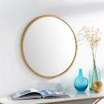 """Clarissa Classic Modern Gold 22-inch Round Mirror - 22""""H x 22""""W (Gold - 22""""H x 22""""W)"""