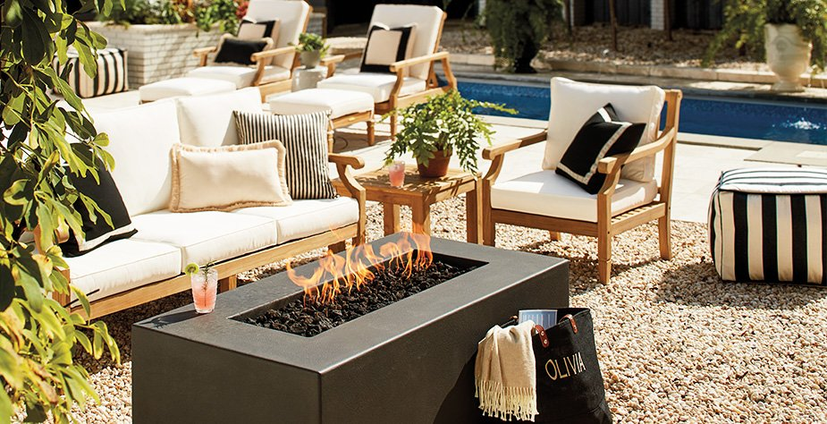Shop Estes Low Square Fire Table, Madison Sofa with Cushions, Madison Lounge Chair & Ottoman with Cushions, Madison Lounge Chair with Cushions, Outdoor Pouf and more