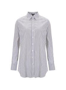 Shop Claudia Shirt White & Navy Fine Stripe and more