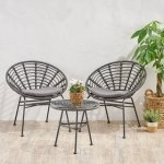 Pigment Outdoor Modern Boho 2 Seater Wicker Chat Set with Side Table by Christopher Knight Home (Gray+Dark Gray+Black)(Glass), Outdoor Seating