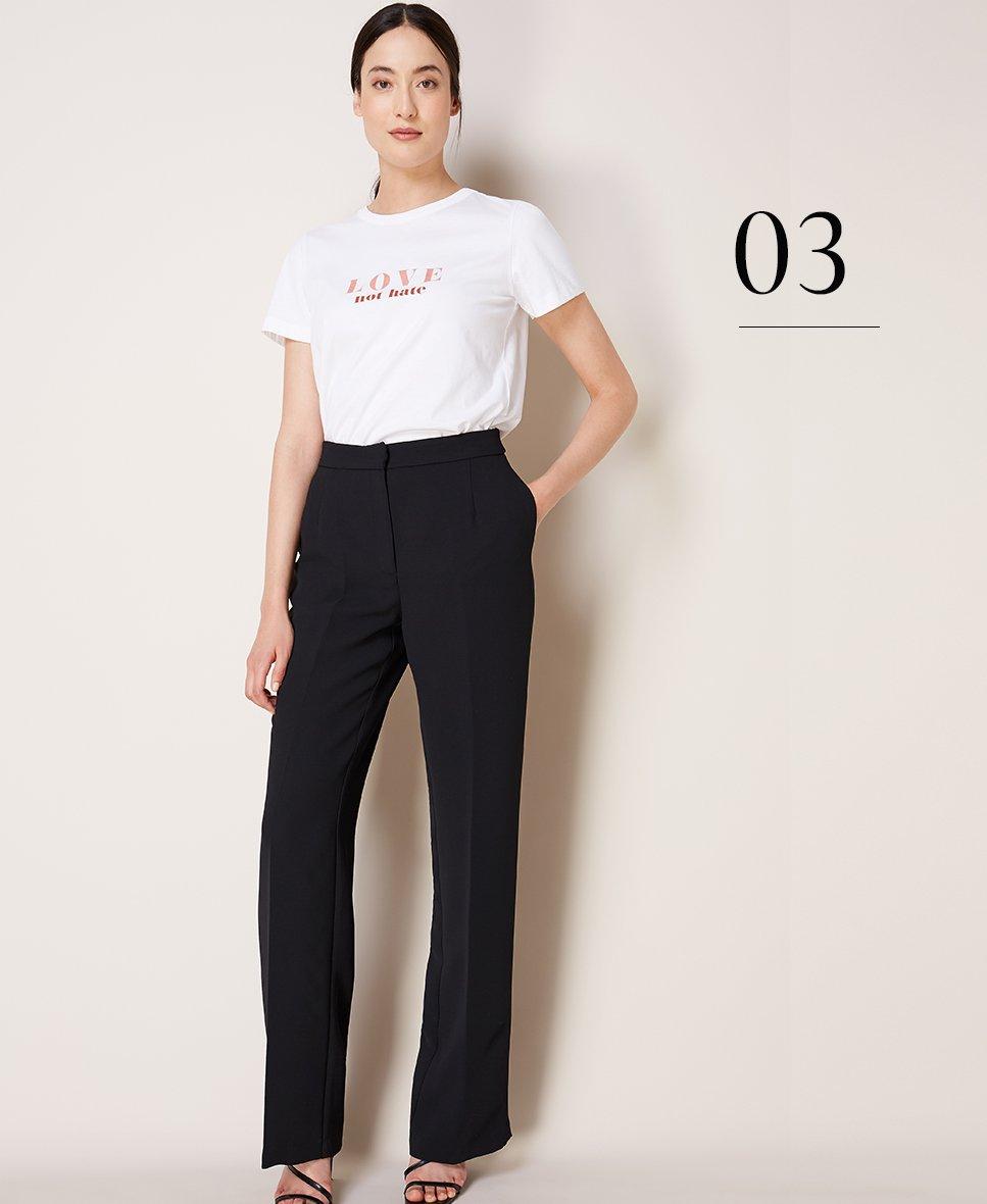 Shop Hannah Tee Pure White, Clio Wide Leg Trousers Caviar Black and more