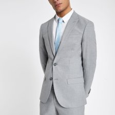 Shop Mens River Island Grey textured slim fit suit jacket and more