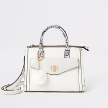 Shop River Island Womens Cream snake print front pocket tote bag and more