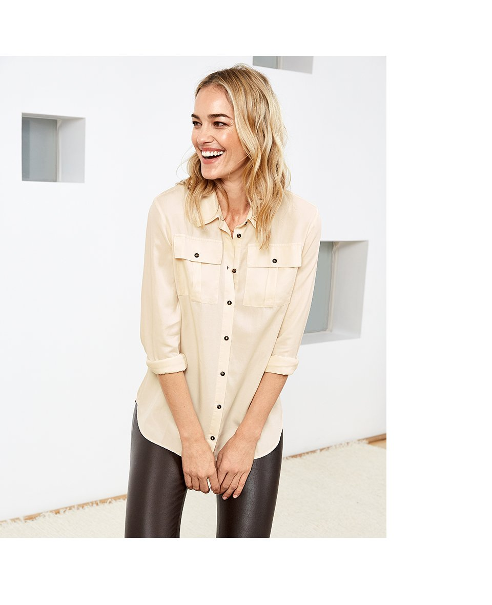 Shop Ellen Safari Shirt Cream, Liv Leather Leggings Dark Chocolate Brown and more
