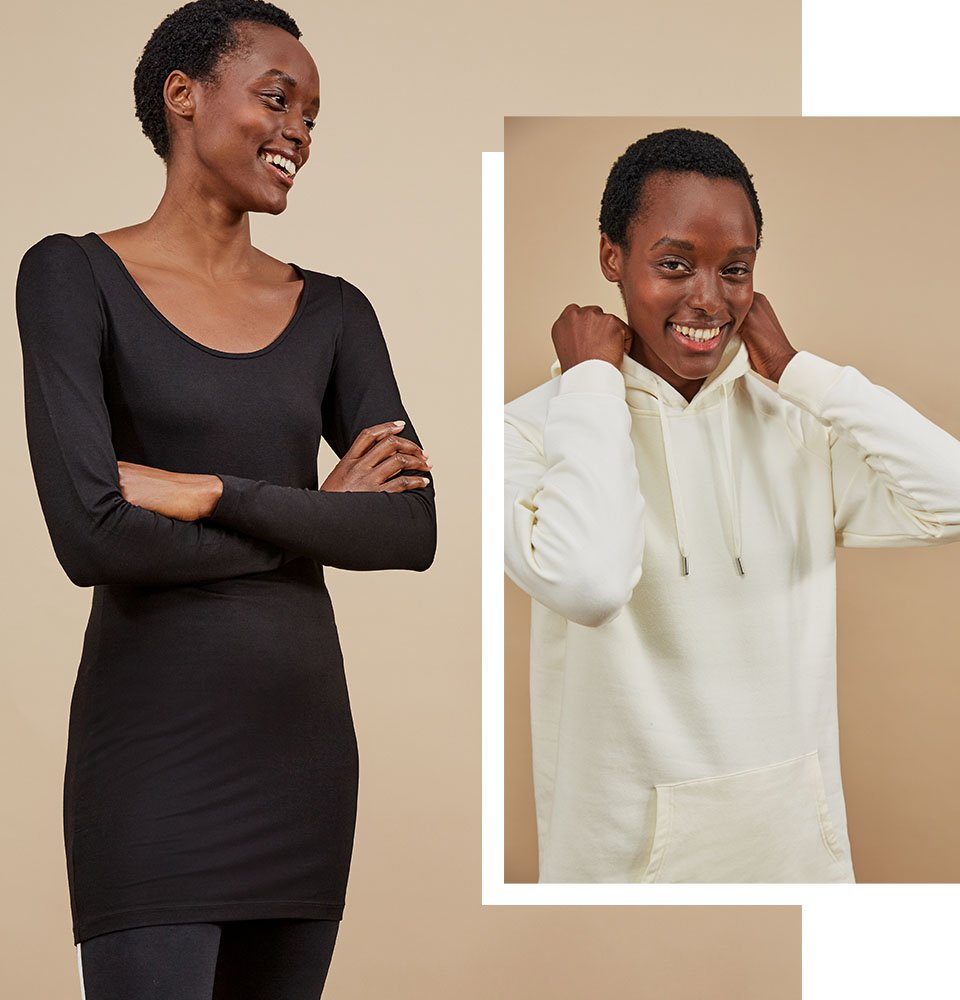 Shop Marte Organic Hoodie Soft White, Elin Top with LENZING™ ECOVERO™ Caviar Black and more