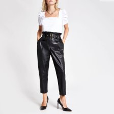 Shop River Island Womens Petite faux leather paperbag waist trousers and more