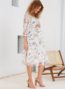 Shop Isabella Oliver Posie Maternity Dress-Soft White Foliage Print and more