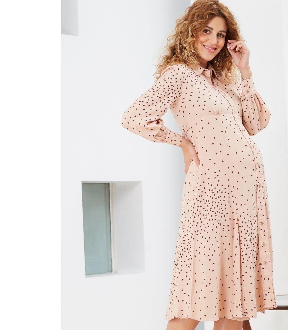 Shop Isabella Oliver Juniper Maternity Shirt Dress-Light Peach Polka and more