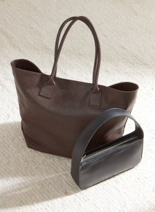 Shop Bethan Leather Tote Dark Chocolate Brown and more