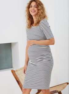 Shop Isabella Oliver Anise Maternity T-Shirt Dress-Soft White & Navy Stripe and more