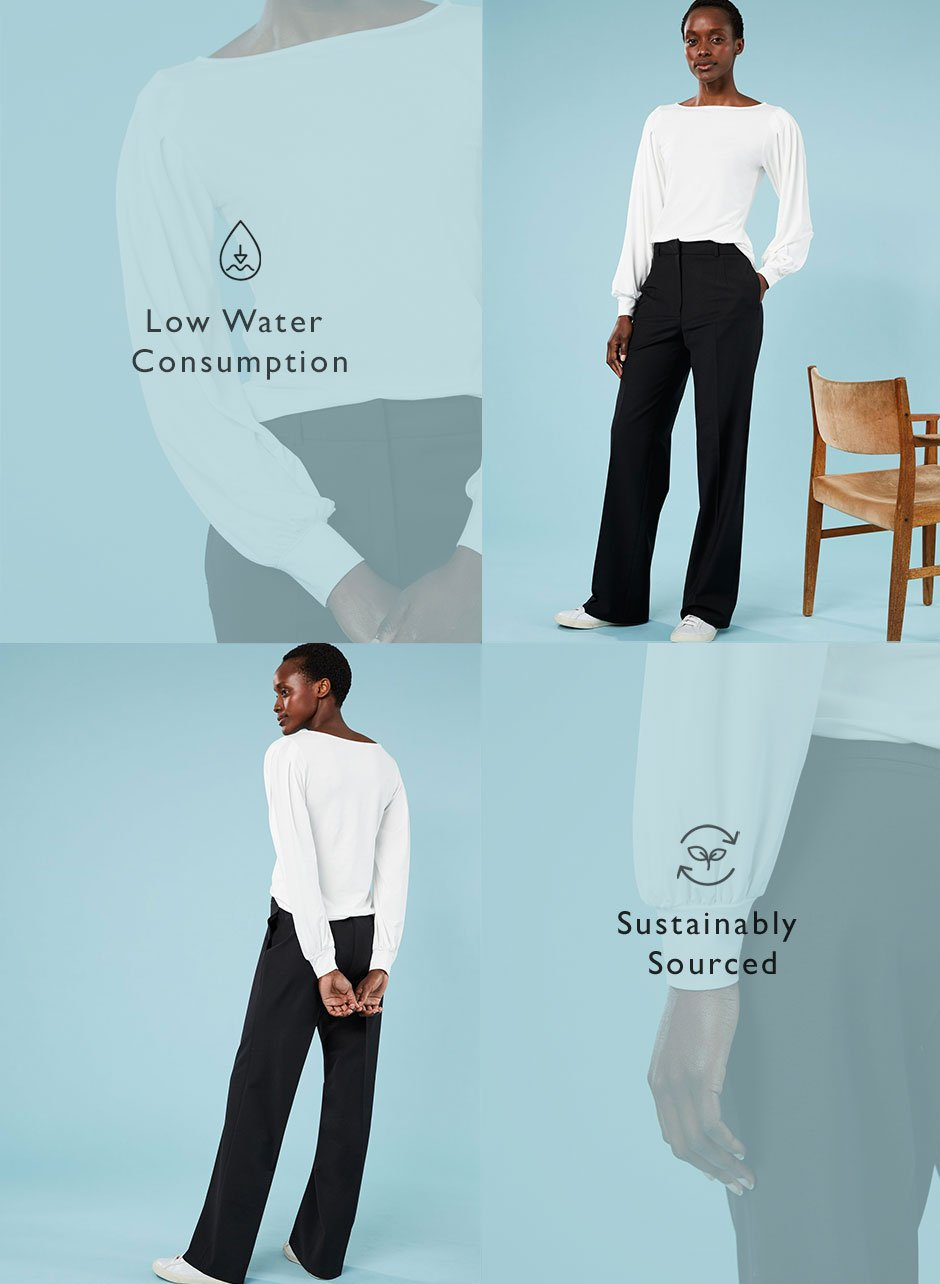 Shop Estelle Ecovero™ Top Soft White, Erika Newlife™ Wide Leg Trouser Caviar Black and more