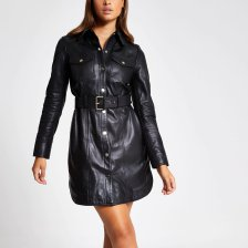 Shop River Island Womens Black leather long sleeve shirt dress and more