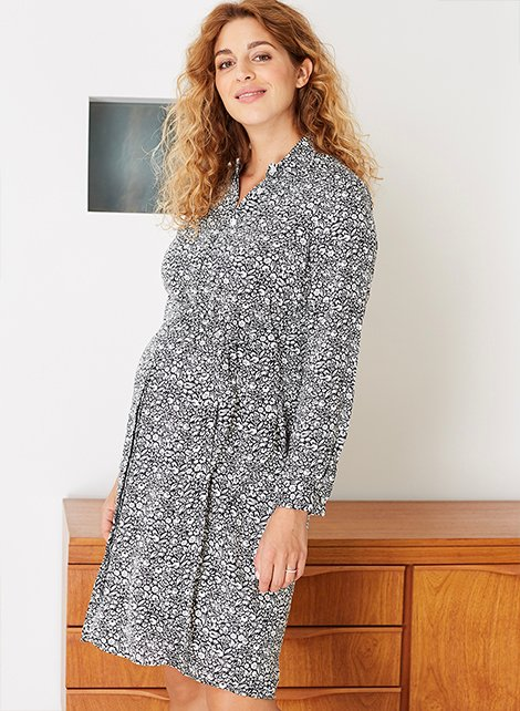 Shop Isabella Oliver Connie Maternity Dress-Black & White Floral and more